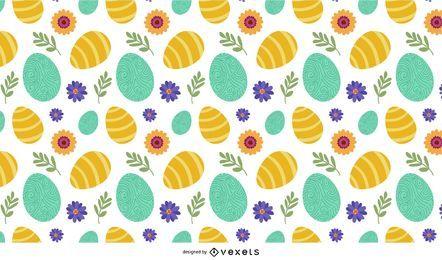 Padrão de ovos e flores de Páscoa