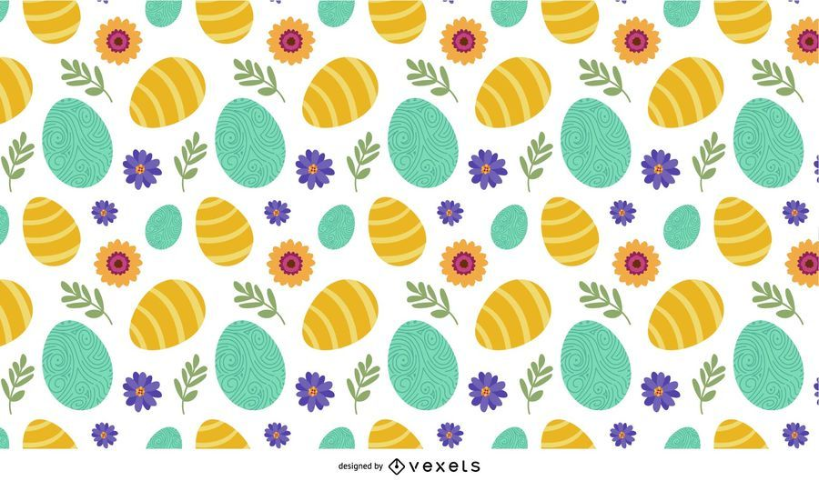 Easter eggs and flowers pattern