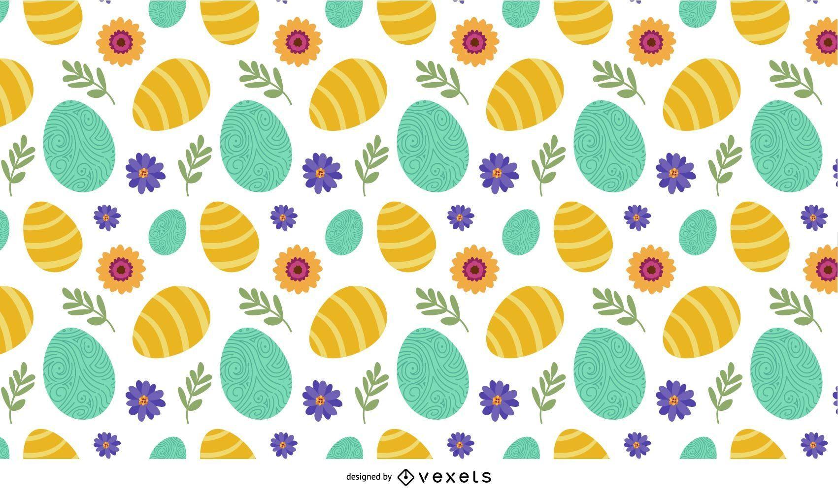 Patrón de flores y huevos de Pascua