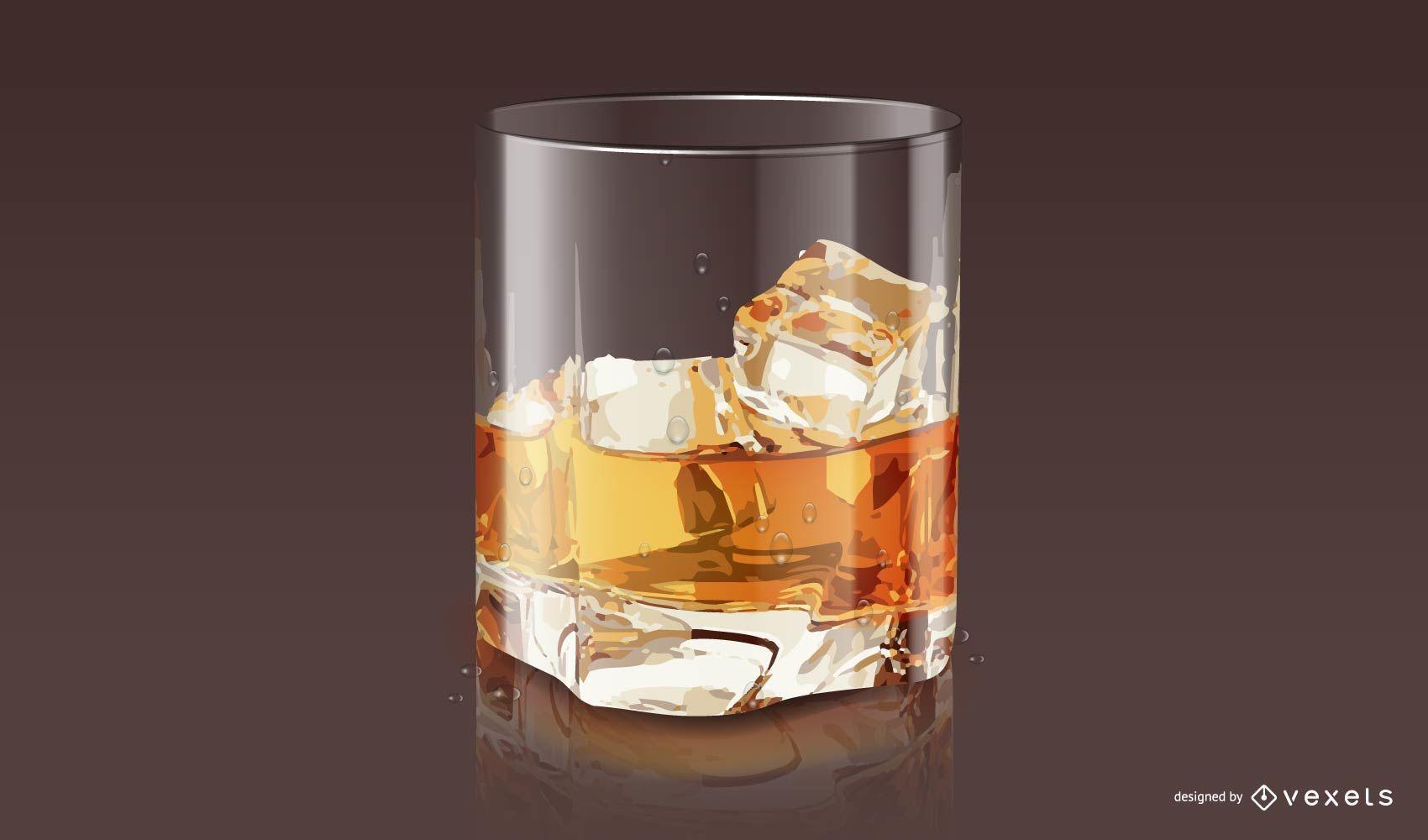Diseño de vaso de whisky realista