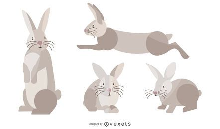 Flat Rabbit Illustration Set