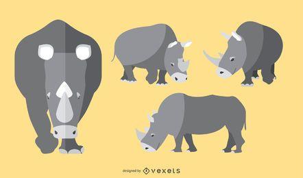 Conjunto de ilustração de rinoceronte plana