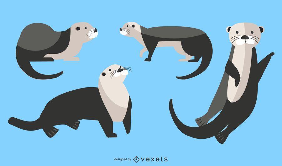 Conjunto de ilustración de nutria de mar plana
