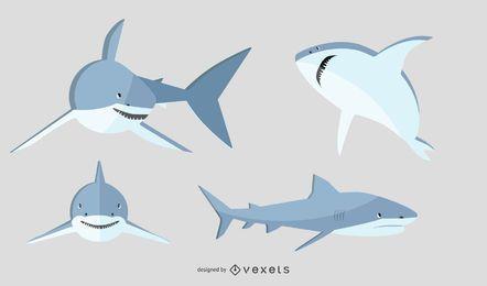 Conjunto de ilustração de tubarão plana