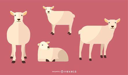 Conjunto de ilustración de oveja plana