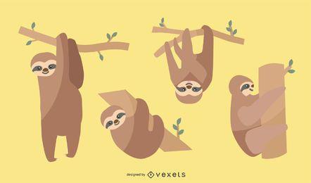 Conjunto de ilustração de preguiça plana