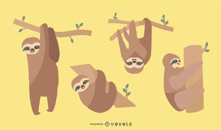 Flat Sloth Illustration Set