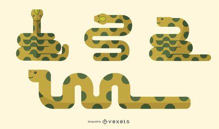 Conjunto de ilustração de cobra plana