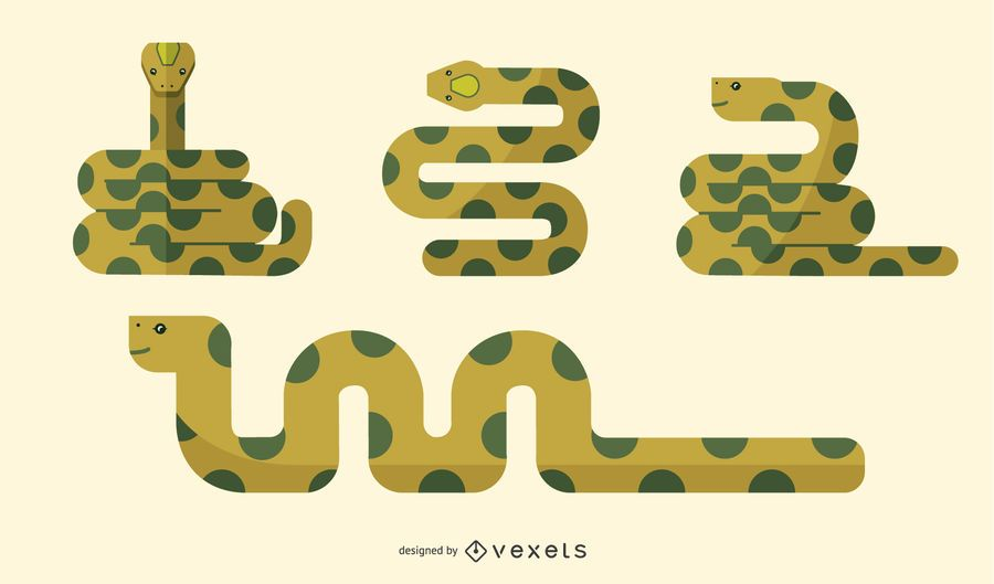 Flat Snake Illustration Set