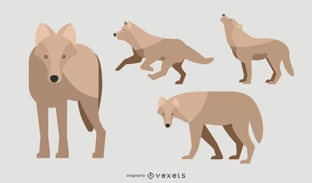 Conjunto de ilustração de lobo plano