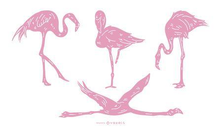 Conjunto detallado rosa flamenco silueta
