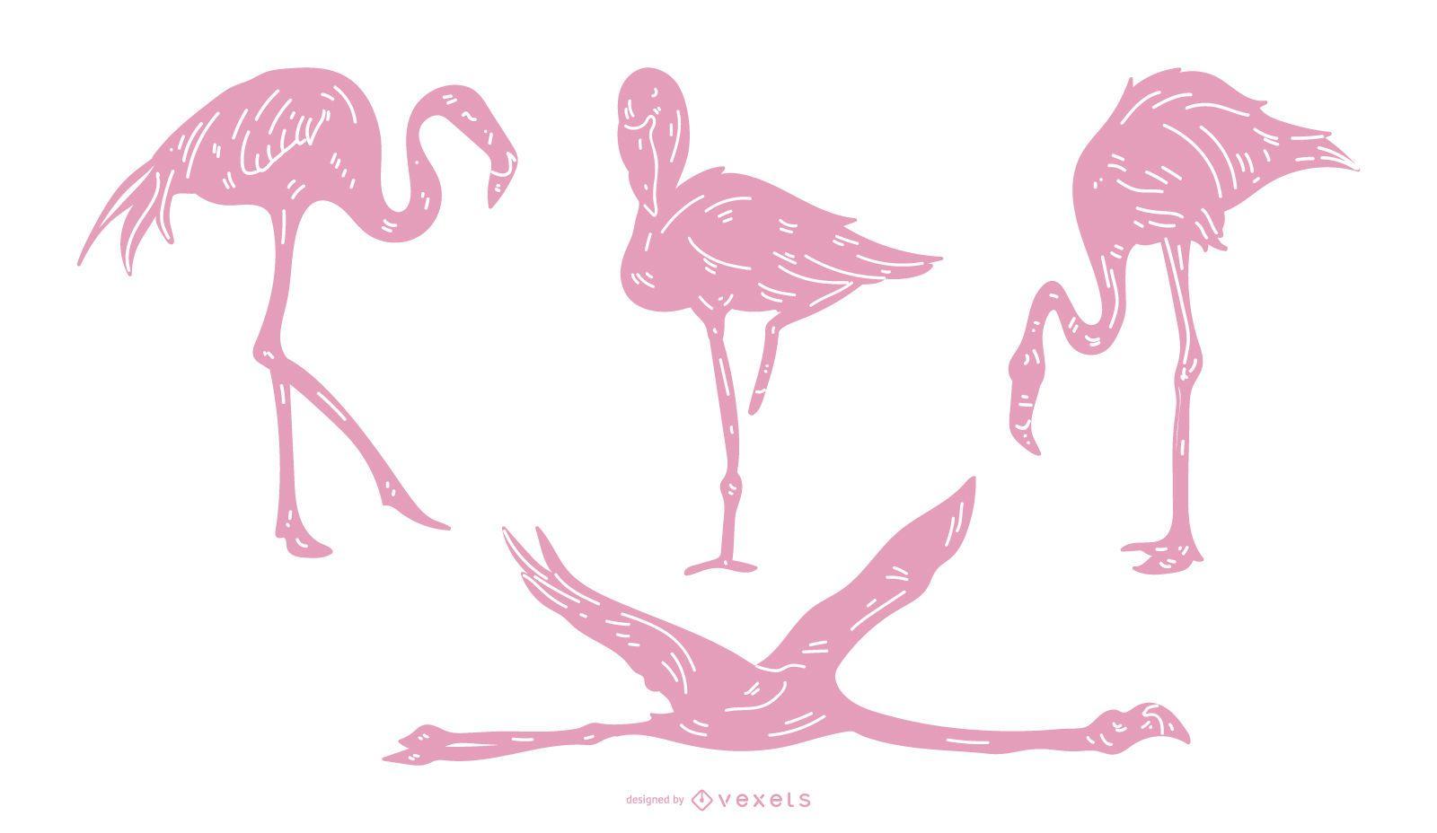 Pink Flemish Detailed Silhouette Set