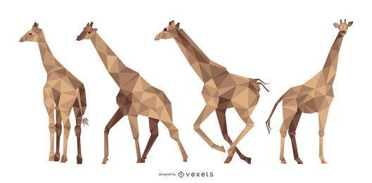 Conjunto de ilustração poligonal de girafa