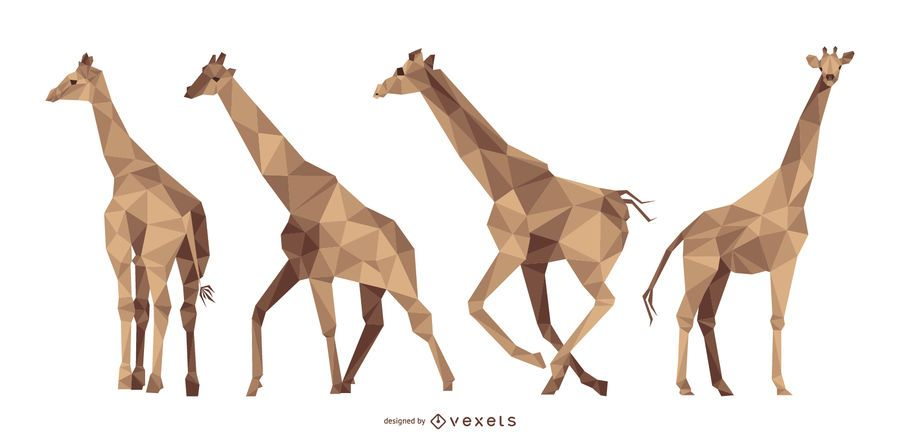 Giraffe Polygonal Illustration Set