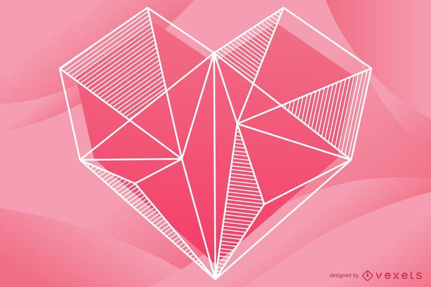 Desenho de ilustração coração geométrico