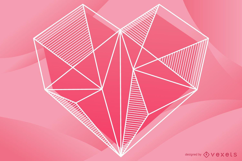 Diseño de ilustración de corazón geométrico