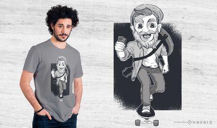 Diseño de camiseta de skater hipster