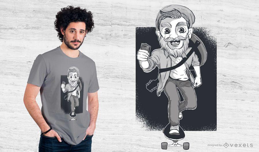 Projeto do t-shirt do patinador do moderno