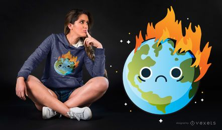 Diseño de camiseta Burning Sad Earth