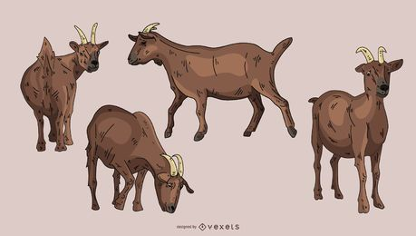 Brown Goat Illustration Set