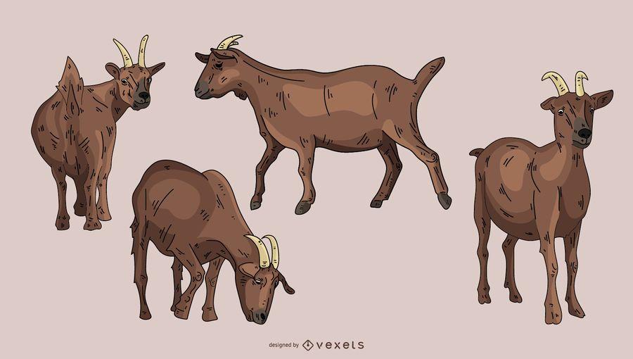 Conjunto de ilustración de cabra marrón