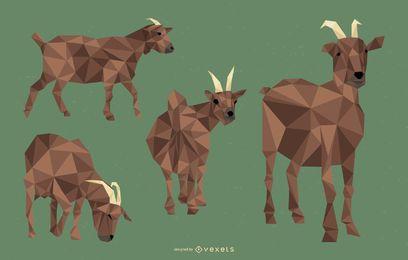 Conjunto de ilustração poligonal de cabra