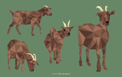 Goat Polygonal Illustration Set