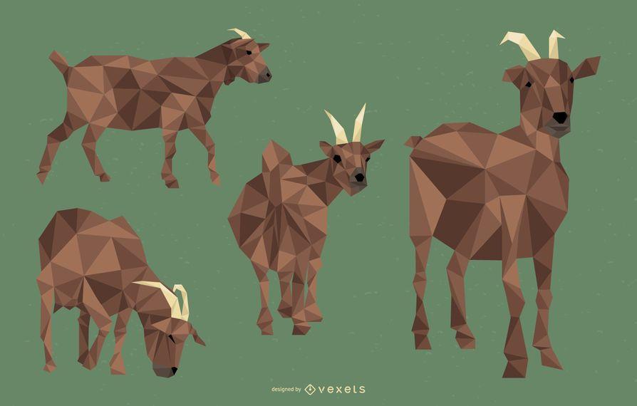 Conjunto de ilustración poligonal de cabra