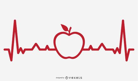 Apple Heartbeat Line Illustration