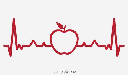 Ilustración de línea de Apple Heartbeat