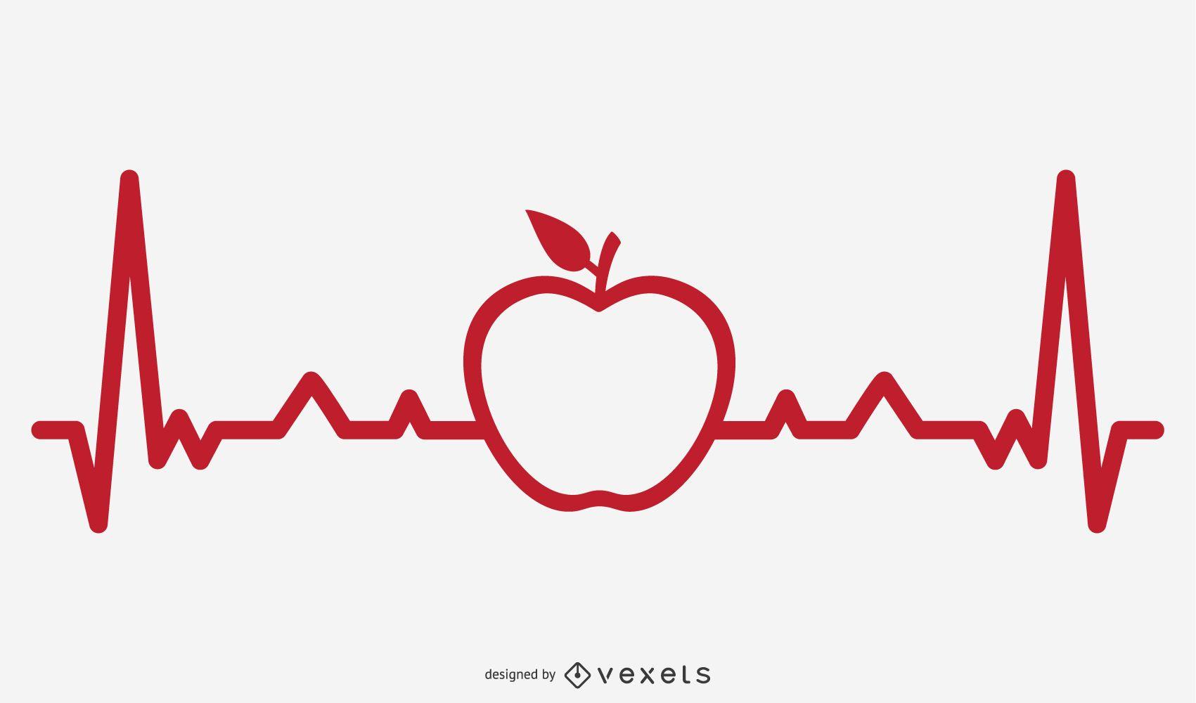 Apple Heartbeat Line Illustration