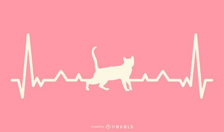 Cat with Heartbeat Line Illustration