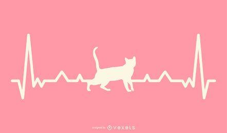 Gato con ilustración de línea de latido del corazón