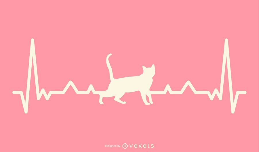 Gato com ilustração de linha de batimento cardíaco