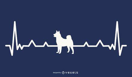 Ilustração do batimento cardíaco do cão