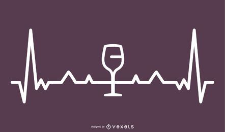 Ilustración de línea de latido de vino