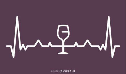 Ilustración de línea de latido del corazón de vino