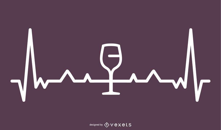 Ilustração de linha de batimento cardíaco de vinho