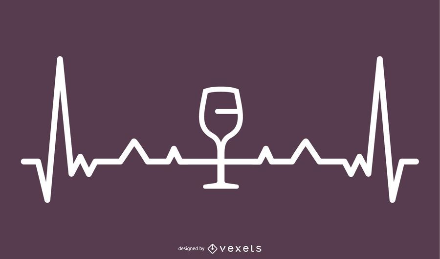 Wine Heartbeat Line Illustration