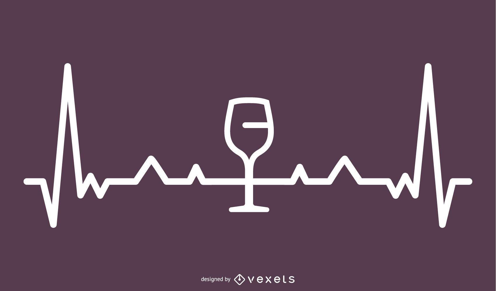 Wine Heartbeat Line Illustration