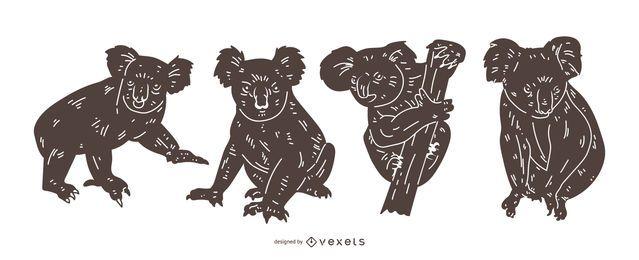 Conjunto detallado de silueta de Koala