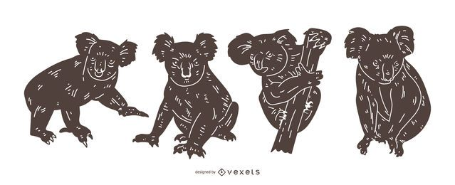 Koala detaillierte Silhouette Set