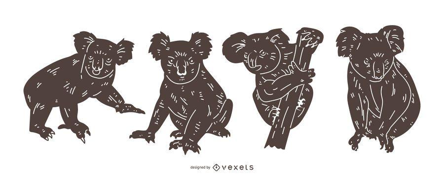 Conjunto de silhueta detalhada de coala