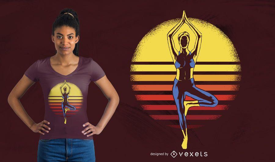 Projeto do t-shirt do por do sol da ioga