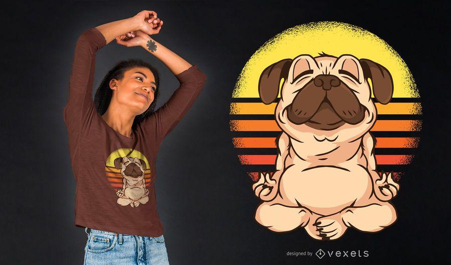 Design do t-shirt do Pug da ioga