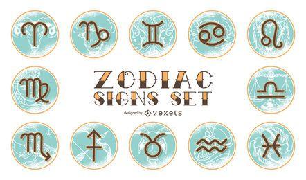 Conjunto de Zodíaco Horóscopo Vintage