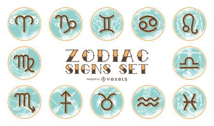 Weinlese-Horoskop-Tierkreis-Set