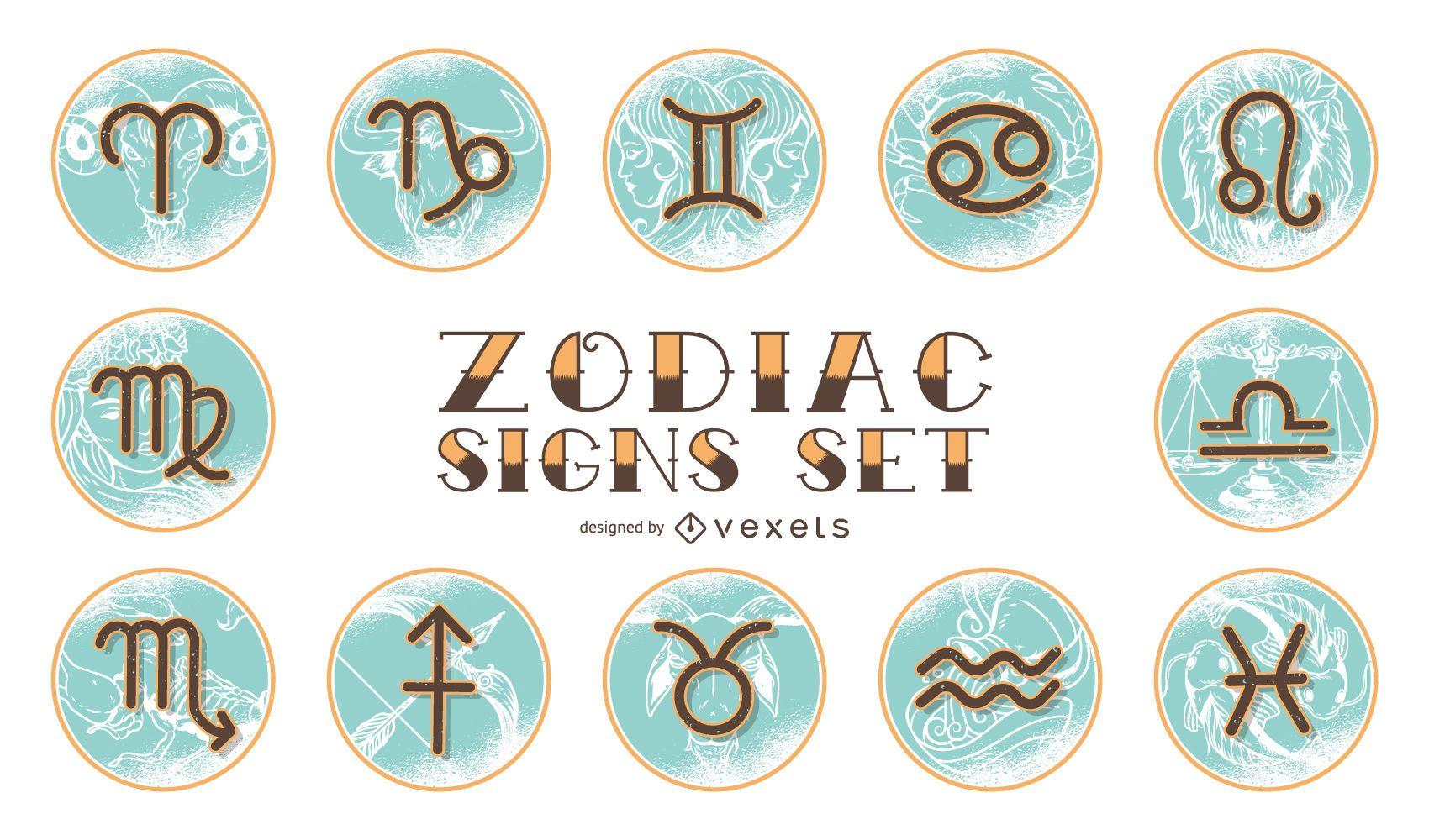 Vintage Horoscope Zodiac Set