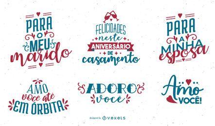 Conjunto de Letras de Aniversário em Português