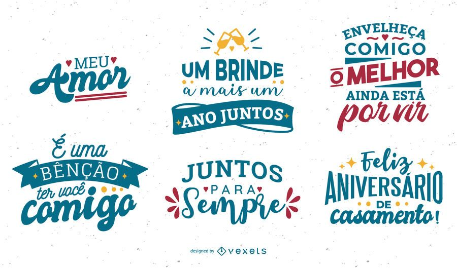 Set de diseño de aniversario portugués